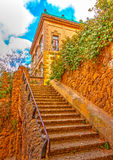 In Barcelona in Spain. Beautiful old building in the famous park Guell at Barcelona in Spain. HDR processed Stock Images