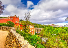 In Barcelona in Spain. Beautiful old building in the famous park Guell at Barcelona in Spain. HDR processed Stock Photo