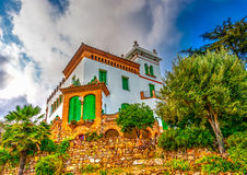 In Barcelona in Spain. Beautiful old building in the famous park Guell at Barcelona in Spain. HDR processed Royalty Free Stock Photos