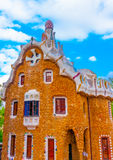 In Barcelona in Spain. Beautiful strange houses at the famous park Guell in Barcelona in Spain Stock Photos