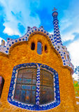 In Barcelona in Spain. Beautiful strange houses at the famous park Guell in Barcelona in Spain Royalty Free Stock Image