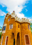 In Barcelona in Spain. Beautiful strange houses at the famous park Guell in Barcelona in Spain Royalty Free Stock Photos