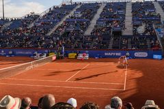 Players in The Barcelona Open, an annual tennis tournament for male professional player. Barcelona, Spain; 04 25 2019: The best tennis   players in The Barcelona royalty free stock images