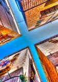 In Barcelona in Spain. 4 buildings (cross shape concept) in Barcelona in Spain. HDR processed Stock Photo