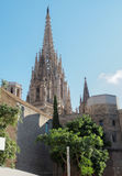 Barcelona, Spain the Cathedral of the Holy Cross and Saint Eulalia towers. Stock Photos