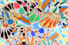 Barcelona, Spain. Ceramic art in Park Guell in Barcelona, Spain. It was built in 1900-14 and  is part of the UNESCO World Heritage Site Works of Antoni Gaudi Royalty Free Stock Image