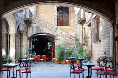 Barcelona, Spain - characteristic courtyard in Barri Gotic district Stock Image