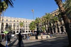 Barcelona Spain circa November 2016 Reial square. Plaza Real near Rambla pictoresque landmark Stock Image