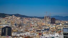 BARCELONA, SPAIN - CIRCA 2019: Panorama of Barcelona from Montjuic hill. Barcelona skyline. Sagrada Familia Zoom.  stock image