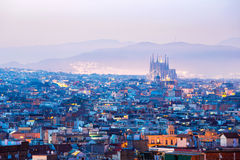 Barcelona Spain. Barcelona Cityscape at dusk Spain royalty free stock photos