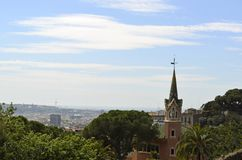 Barcelona, Spain cityscape view from Antoni Gaudi s Park Guell,. City view of Barcelona, Spain landscape view from Antoni Gaudi s Park Guell in Barcelone Spain stock photos