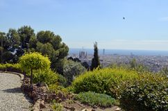 Barcelona, Spain cityscape view from Antoni Gaudi s Park Guell,. City view of Barcelona, Spain landscape view from Antoni Gaudi s Park Guell in Barcelone Spain royalty free stock photography