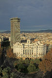 BARCELONA, SPAIN. Columbus tower and Sector Naval Stock Photo