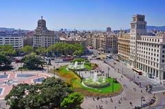 Placa Catalunya em Barcelona, Spain Fotografia de Stock Royalty Free