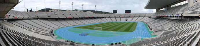 Panorama of the Olympic stadium Barcelona. BARCELONA, SPAIN - DECEMBER 30: Estadi Olimpic Lluis Companys on December 30, 2010 in Barcelona, Spain. This stadium Stock Photography