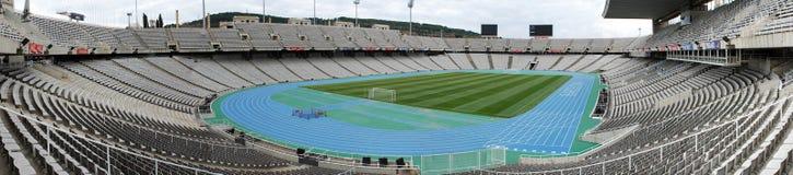 Panorama of the Olympic stadium Barcelona. BARCELONA, SPAIN - DECEMBER 30: Estadi Olimpic Lluis Companys on December 30, 2010 in Barcelona, Spain. This stadium Royalty Free Stock Photography