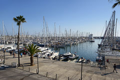 Barcelona, Spain - December 27, 2015: Port Olimpic marina in the city of Barcelona, Catalonia, Spain Stock Photos