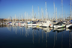 Barcelona, Spain - December 27, 2015: Port Olimpic marina in the city of Barcelona, Catalonia, Spain Stock Images