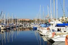 Barcelona, Spain - December 27, 2015: Port Olimpic marina in the city of Barcelona, Catalonia, Spain Royalty Free Stock Photography