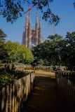 Barcelona, Basilica of Sagrada familia by  Antonio Gaudi. Barcelona, Spain.Desember 14, 2017.Redemptive Temple of the Holy Family Sagrada at sunny day, shot from royalty free stock images