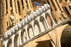 BARCELONA, SPAIN - Detail of a wall La Sagrada Familia - the impressive cathedral designed by Gaudi Stock Photo