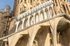 BARCELONA, SPAIN - Detail of a wall La Sagrada Familia - the impressive cathedral designed by Gaudi, Royalty Free Stock Photo