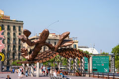 BARCELONA, SPAIN/EUROPE - JUNE 1 : Wooden sculpture of a lobster Stock Photos