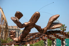 BARCELONA, SPAIN/EUROPE - 1. JUNI: Hölzerne Skulptur eines Hummers stockbilder