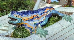 Barcelona Spain by famous architecture Anthoni Gaudi. Lizard mosaic sculpture in Park Guell, Barcelona Spain by famous architecture Anthoni Gaudi Stock Photo