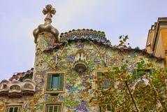 Barcelona in Spain. Famous house Casa Batllo, Gaudi Stock Photos