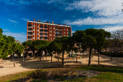 BARCELONA, SPAIN, february 2016-children playground zone in Parc del Clot. On sunny day Stock Photography