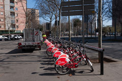 BARCELONA, SPAIN, february 2016: ecological public transport of Barcelona-bicycles Royalty Free Stock Photography