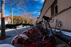 BARCELONA, SPAIN, february 2016-ecological public transport of Barcelona-bicycles Royalty Free Stock Image