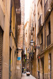 BARCELONA, SPAIN - FEBRUARY 16, 2017: Gothic Quarter Barrio Gothico. Vertical. royalty free stock photos