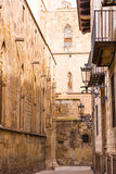 BARCELONA, SPAIN - FEBRUARY 16, 2017: Gothic Quarter Barrio Gothico. Vertical. royalty free stock image