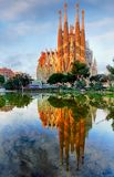 BARCELONA, SPAIN - FEBRUARY 10: La Sagrada Familia - the impress royalty free stock photography