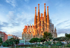 BARCELONA, SPAIN - FEBRUARY 10: La Sagrada Familia. The impressive cathedral designed by Gaudi, which is being build since 19 March 1882 and is not finished royalty free stock image