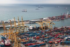BARCELONA, SPAIN, February 5, 2018, Panorama of the port and loa royalty free stock images