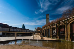 BARCELONA, SPAIN, february 2016-pedestrian bridge in Parc del Clot. On sunny day Stock Images