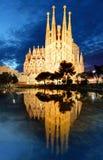 BARCELONA, SPAIN - FEBRUARY 8: Sagrada Familia at night on Febru Stock Photography