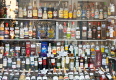 Showcase alcohol store Stock Photography