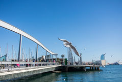 BARCELONA, SPAIN - FEBRUARY 12, 2014: A view to a pier with yachts, an embankment and a flying seagull at Barcelona port. Catalonia, Spain Royalty Free Stock Photography