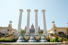 Barcelona, Spain - fountain, column and National art museum in Plaza de Espana Royalty Free Stock Image
