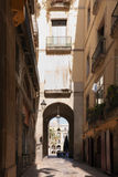 Barcelona. Spain. Gothic Quarter - narrow street. Stock Photos