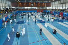Barcelona, Spain, 04-06-2019. International Fencing Championship Trofeu Sant Jordi de Barcelona royalty free stock images