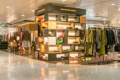 BARCELONA, SPAIN - JANUARY 02, 2018: Clothing store in mall El. Corte Ingles Stock Photos