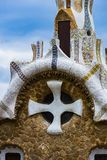 Elements of mosaic fragments Gaudi`s mosaic work in Park Guell In winter in the city of Barcelona. BARCELONA, SPAIN - 13 JANUARY 2018: Elements of mosaic stock photo