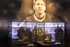The museum of trophies of the cups and awards of the team FC Barcelona in the of Camp Nou. Royalty Free Stock Photos