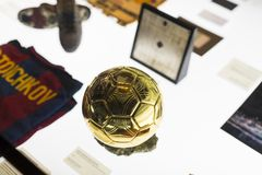 Official Store FC Barcelona , clothing and footwear team of souvenirs and paraphernalia for fans of the team and visitors of the s. BARCELONA, SPAIN - 12 JANUARY stock photos