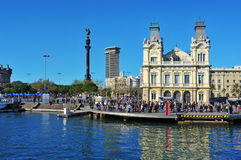 Port Vell and Columbus Monument in Barcelona, Spain Stock Image